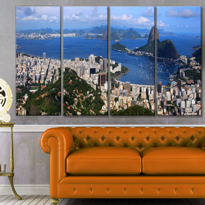 Designart Rio De Janeiro Panorama Landscape CanvasArt Print- 4 Panels