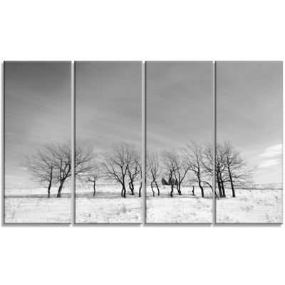 Designart Black And White Trees In Winter Landscape Canvas Art Print - 4 Panels