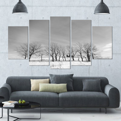 Designart Black And White Trees In Winter Landscape Large Canvas Art Print - 5 Panels