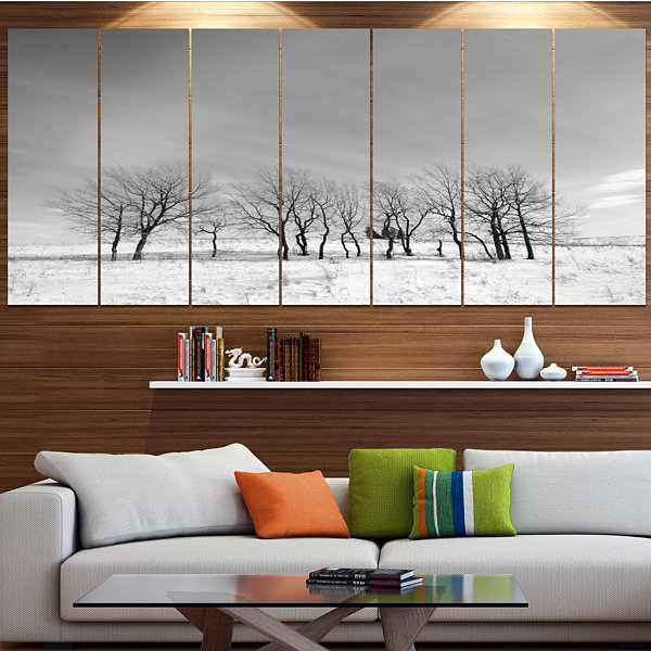 Design Art Black And White Trees In Winter Landscape Large Canvas Art Print - 5 Panels