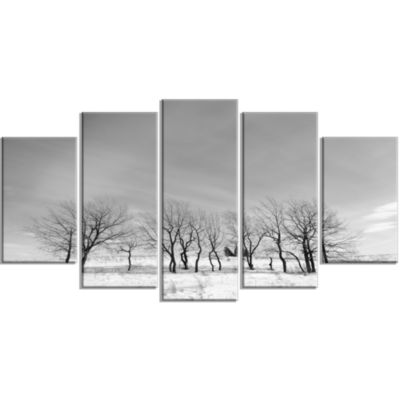 Black And White Trees In Winter Landscape Large Canvas Art Print - 5 Panels