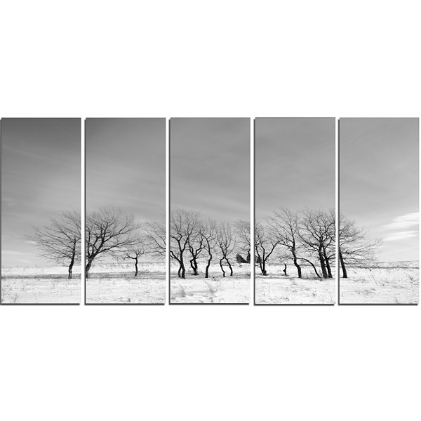 Designart Black And White Trees In Winter Landscape Canvas Art Print - 5 Panels
