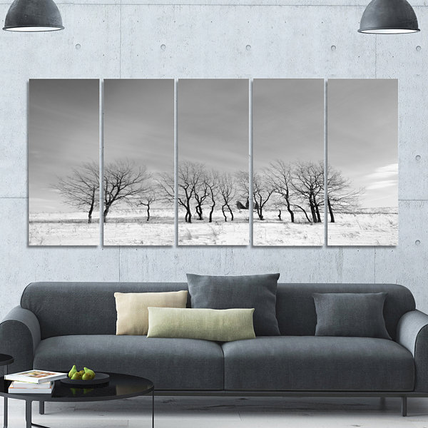 Design Art Black And White Trees In Winter Landscape Canvas Art Print - 5 Panels