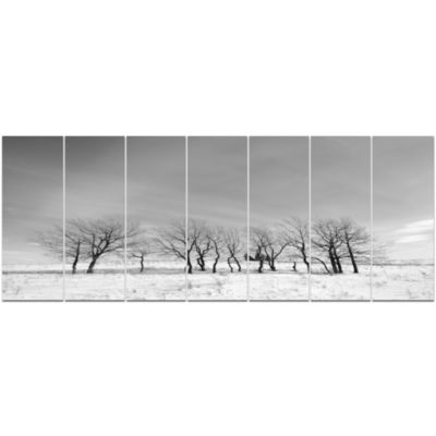 Black And White Trees In Winter Landscape Canvas Art Print - 7 Panels