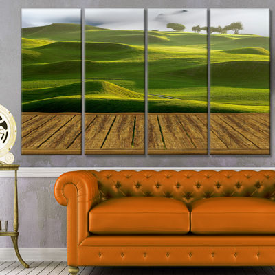 Designart Golf Course With Wooden Path LandscapeCanvas Art Print - 4 Panels
