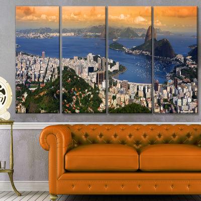 Designart Rio Landscape Panorama Landscape CanvasArt Print- 4 Panels