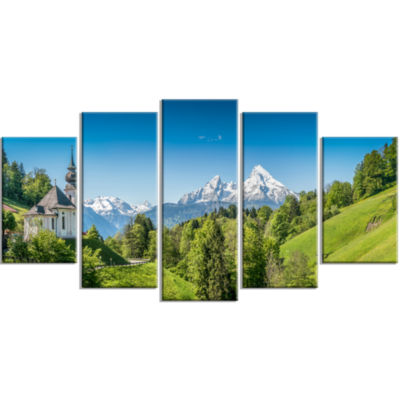 Green Mountain View Of Bavarian Alps Landscape Large Canvas Art Print - 5 Panels