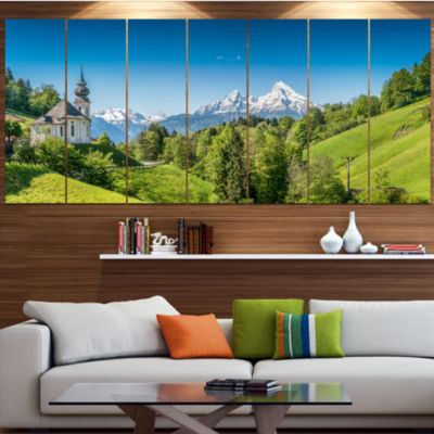 Green Mountain View Of Bavarian Alps Landscape Canvas Art Print - 6 Panels
