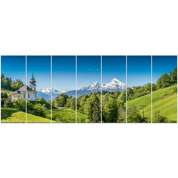 Designart Green Mountain View Of Bavarian Alps Landscape Canvas Art Print - 7 Panels