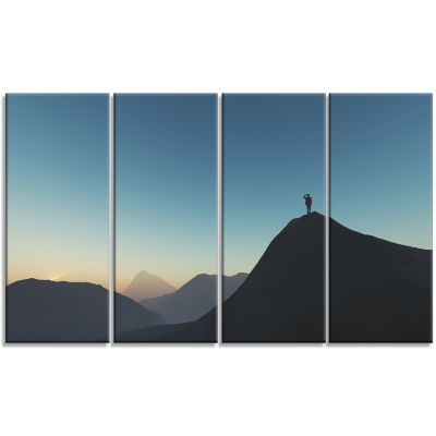 Man Looking From Mountain Landscape Canvas Art Print - 4 Panels
