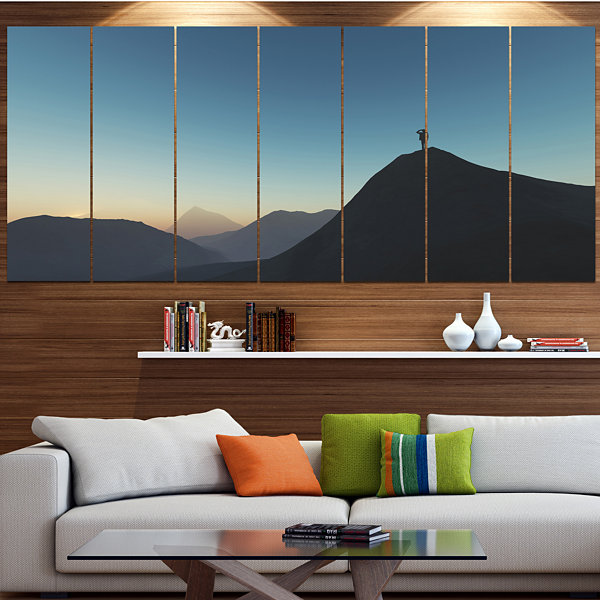 Design Art Man Looking From Mountain Landscape Canvas Art Print - 5 Panels