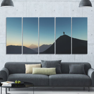 Man Looking From Mountain Landscape Canvas Art Print - 5 Panels