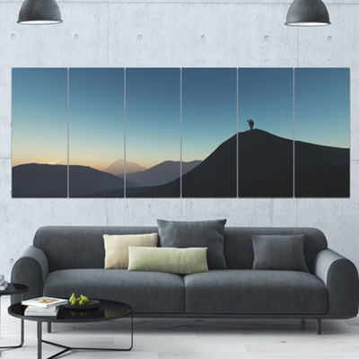 Designart Man Looking From Mountain Landscape Canvas Art Print - 6 Panels