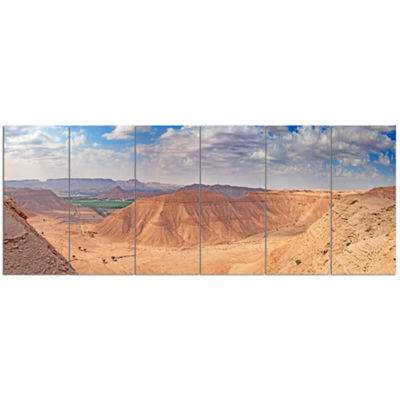 Designart Clay Rocks Around Riyadh City LandscapeCanvas Art Print - 6 Panels