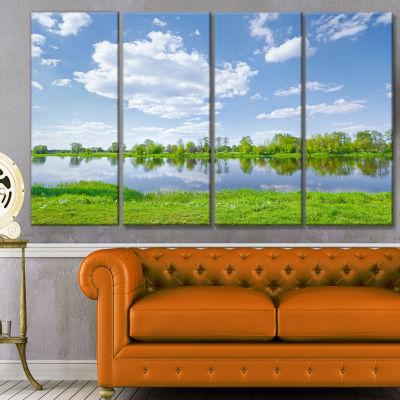 Designart Sunny Spring By Narew River Landscape Canvas Art Print - 4 Panels