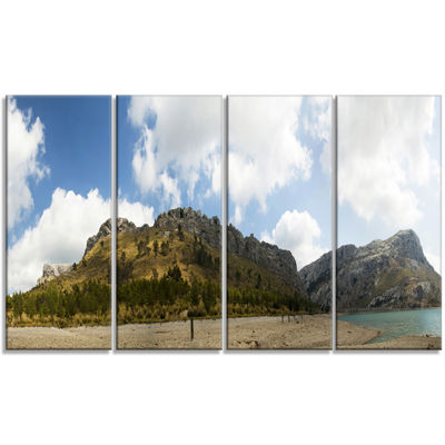 Designart Lake And Clouds Panorama Landscape Canvas Art Print - 4 Panels