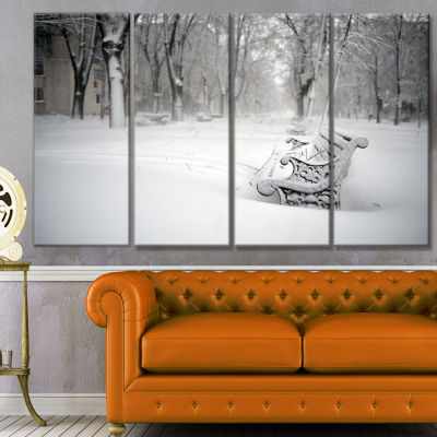 Designart Benches In Park Covered With Snow Landscape Canvas Art Print - 4 Panels