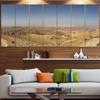 Designart Panorama Desert Hills Jordan LandscapeCanvas Art Print - 4 Panels