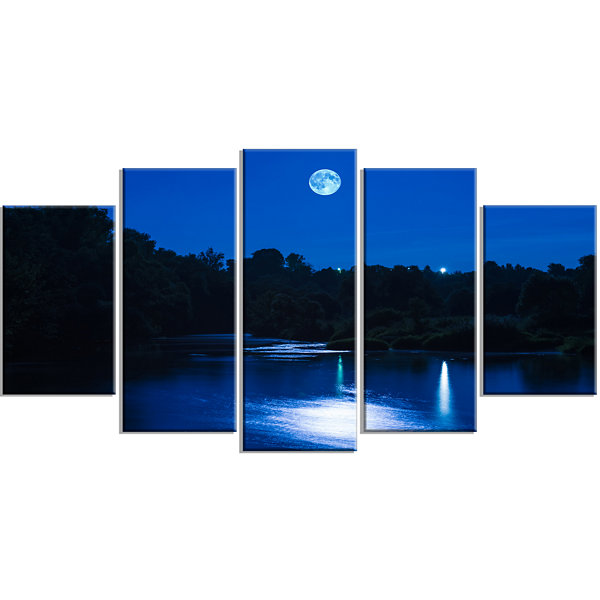 Designart River At Night With Fog Landscape LargeCanvas Art Print - 5 Panels