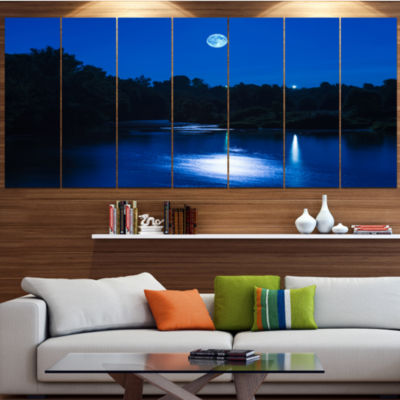 Designart River At Night With Fog Landscape CanvasArt Print- 5 Panels