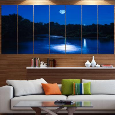 Design Art River At Night With Fog Landscape Canvas Art Print- 6 Panels