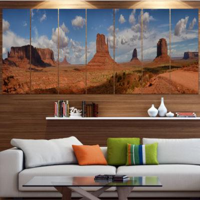 Design Art Monument Valley Mountains Landscape Canvas Art Print - 7 Panels