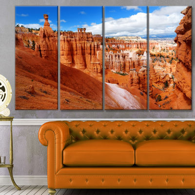 Designart Sandstone Hoodoos In Bryce Canyon Landscape Canvas Art Print - 4 Panels