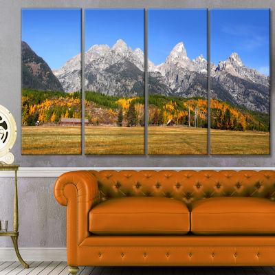 Grand Tetons Panorama Landscape Canvas Art Print -4 Panels