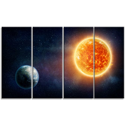 Designart Planet Earth And Sun Landscape Canvas Art Print -4 Panels
