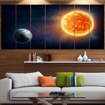 Designart Planet Earth And Sun Landscape Large Canvas Art Print - 5 Panels