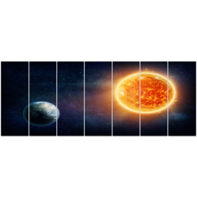 Planet Earth And Sun Landscape Canvas Art Print -7 Panels