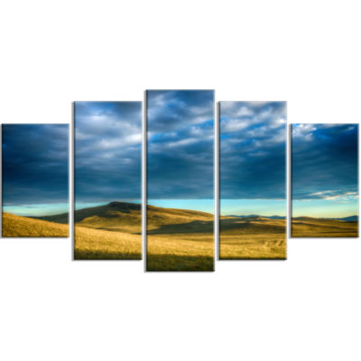 Green Landscape Under Cloudy Sky Landscape Large Canvas Art Print - 5 Panels