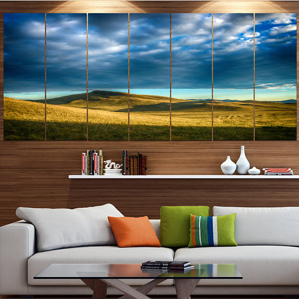 Designart Green Landscape Under Cloudy Sky Landscape Canvas Art Print - 7 Panels