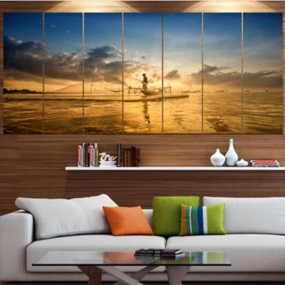 Designart Pakpra With Fisherman At Sunrise Landscape Large Canvas Art Print - 5 Panels