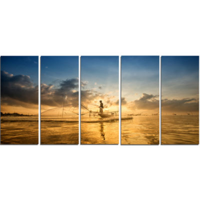 Pakpra With Fisherman At Sunrise Landscape CanvasArt Print - 5 Panels