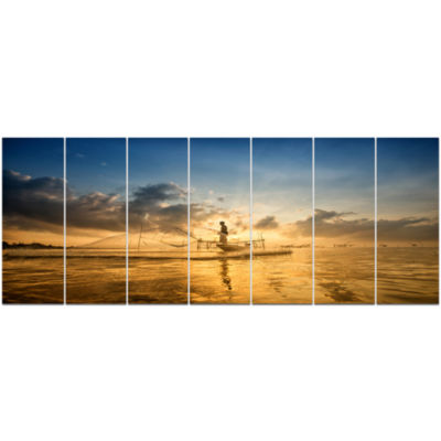 Pakpra With Fisherman At Sunrise Landscape CanvasArt Print - 7 Panels