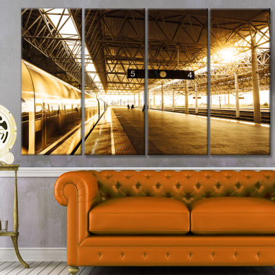 Train At Railway Station With Sunlight Landscape Canvas Art Print - 4 Panels