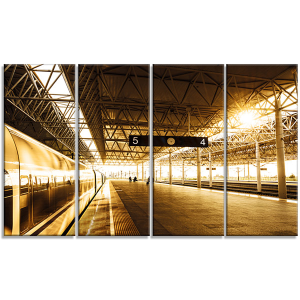 Design Art Train At Railway Station With SunlightLandscape Canvas Art Print - 4 Panels