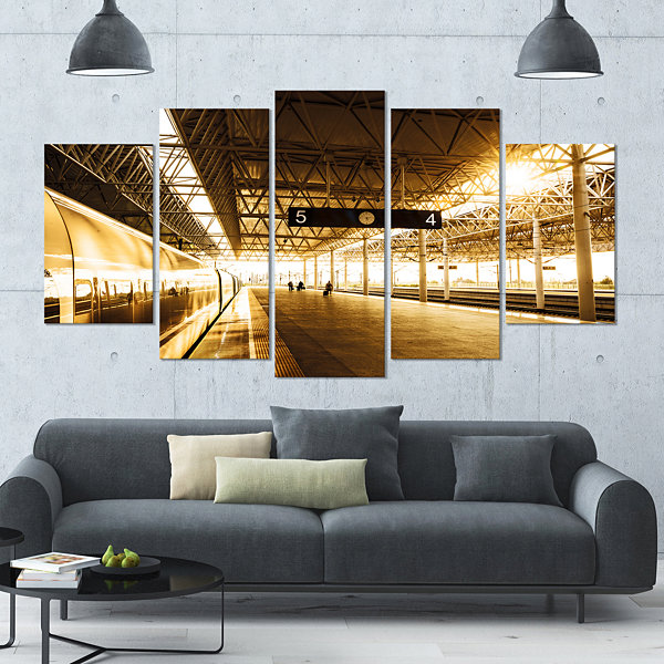 Designart Train At Railway Station With SunlightLandscape Large Canvas Art Print - 5 Panels