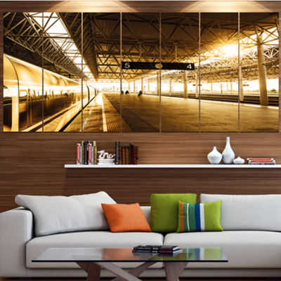 Designart Train At Railway Station With SunlightLandscape Canvas Art Print - 5 Panels