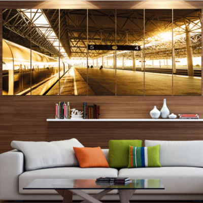 Designart Train At Railway Station With SunlightLandscape Canvas Art Print - 6 Panels