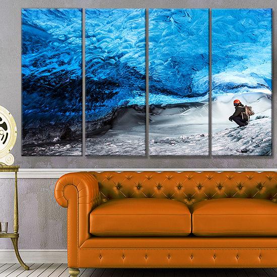 Designart Glacier Ice Cave Of Iceland Landscape Canvas Art Print - 4 Panels