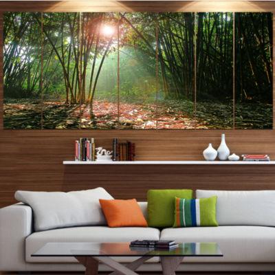 Designart Amazing Green Forest At Sunset LandscapeCanvas Art Print - 4 Panels