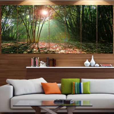 Amazing Green Forest At Sunset Landscape Large Canvas Art Print - 5 Panels
