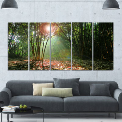 Amazing Green Forest At Sunset Landscape Canvas Art Print - 5 Panels