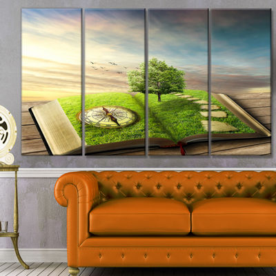 Designart Book Of Life With Greenery Landscape Canvas Art Print - 4 Panels
