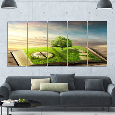 Designart Book Of Life With Greenery Landscape Canvas Art Print - 5 Panels