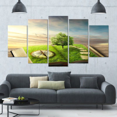 Book Of Life With Greenery Landscape Canvas Art Print - 5 Panels