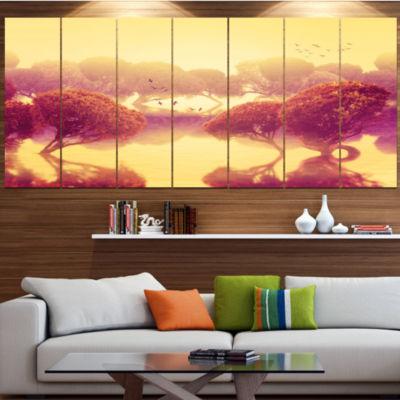 Design Art Peaceful Japanese Gardens Landscape Large Canvas Art Print - 5 Panels