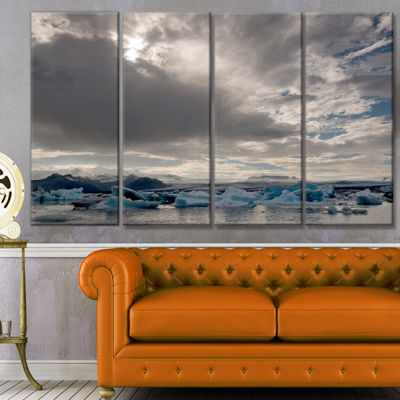 Designart Ice Of Jokulsarlon Lagoon Landscape Canvas Art Print - 4 Panels